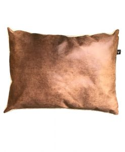 Leatherette Dog Cushion Light Brown