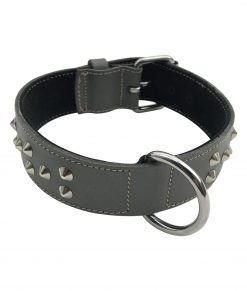 "1.5"" Wide Studded Leather Collar"